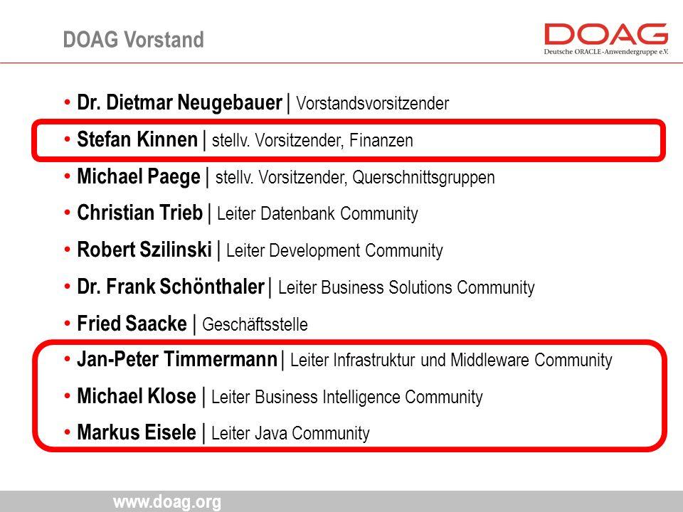 www.doag.org Dr. Dietmar Neugebauer | Vorstandsvorsitzender Stefan Kinnen | stellv. Vorsitzender, Finanzen Michael Paege | stellv. Vorsitzender, Quers