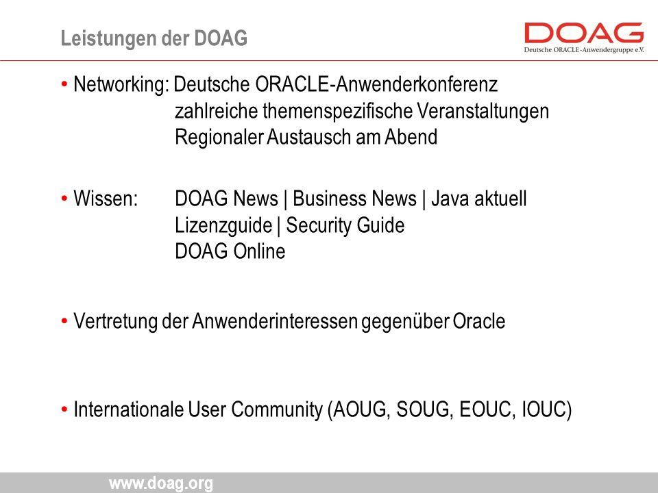 www.doag.org Networking: Deutsche ORACLE-Anwenderkonferenz zahlreiche themenspezifische Veranstaltungen Regionaler Austausch am Abend Wissen: DOAG New