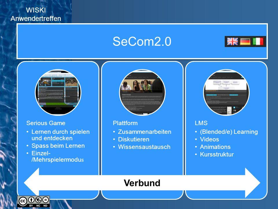 SeCom2.0 Serious Game Lernen durch spielen und entdecken Spass beim Lernen Einzel- /Mehrspielermodu s Plattform Zusammenarbeiten Diskutieren Wissensaustausch LMS (Blended/e) Learning Videos Animations Kursstruktur Verbund