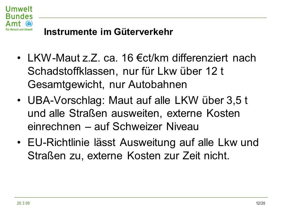 20.3.0912/20 Instrumente im Güterverkehr LKW-Maut z.Z.