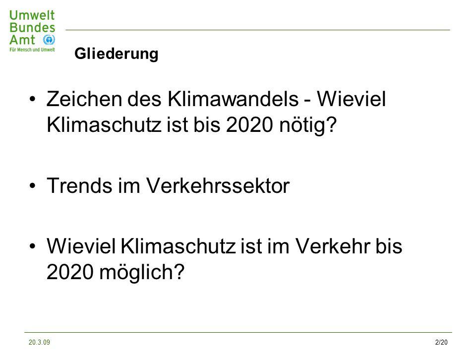 20.3.092/20 Gliederung Zeichen des Klimawandels - Wieviel Klimaschutz ist bis 2020 nötig.