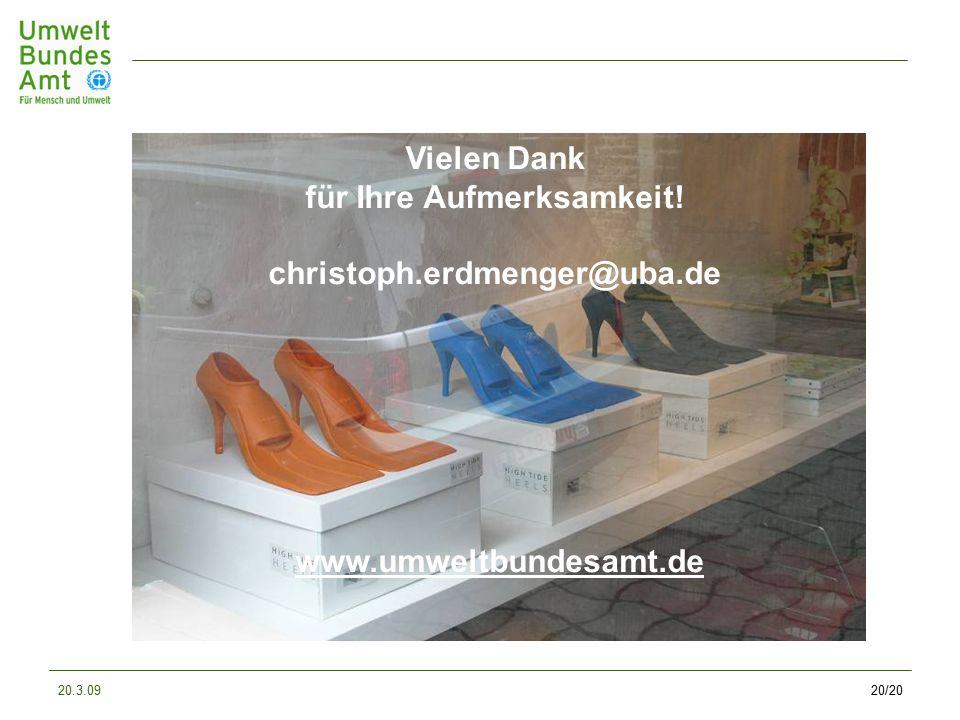 20.3.0920/20 Vielen Dank für Ihre Aufmerksamkeit! christoph.erdmenger@uba.de www.umweltbundesamt.de