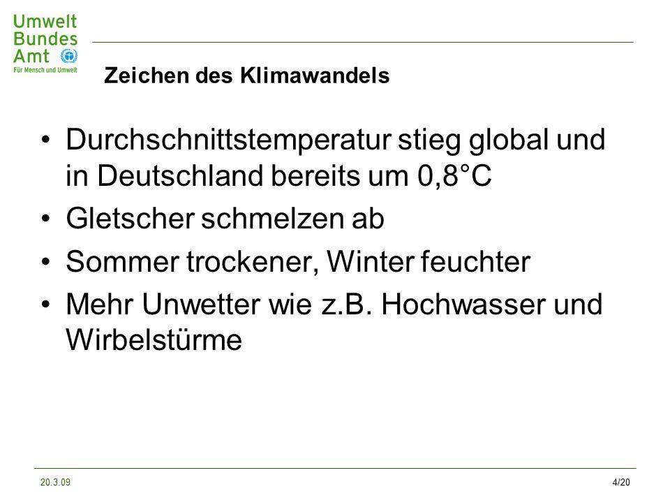 20.3.094/20 Zeichen des Klimawandels Durchschnittstemperatur stieg global und in Deutschland bereits um 0,8°C Gletscher schmelzen ab Sommer trockener, Winter feuchter Mehr Unwetter wie z.B.