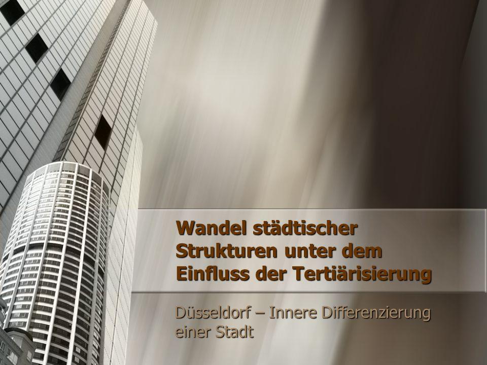 Soziale Differenzierung in Düsseldorf Anteile der Beschäftigten in Düsseldorf 1961 19871998 0,2 % 0,1 % 40,9 % 25,4 % 18,4 % 58,9 %74,4 %81,5 % Primärer Sektor Sekundärer Sektor Tertiärer Sektor  Tertiärisierung