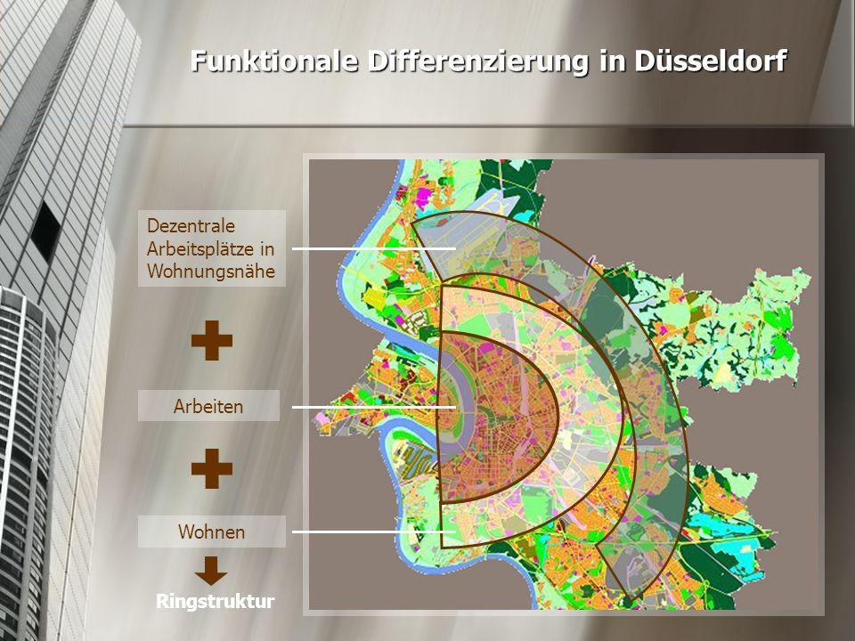 Funktionale Differenzierung in Düsseldorf Wohnen Arbeiten Dezentrale Arbeitsplätze in Wohnungsnähe Ringstruktur