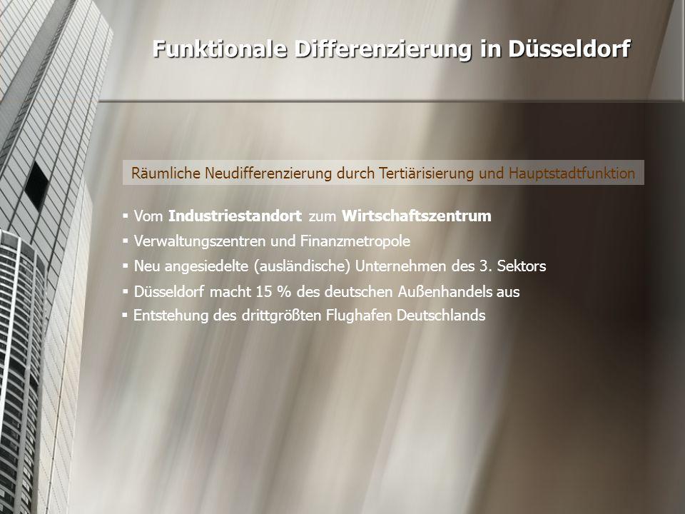 Räumliche Neudifferenzierung durch Tertiärisierung und Hauptstadtfunktion Funktionale Differenzierung in Düsseldorf  Vom Industriestandort zum Wirtsc