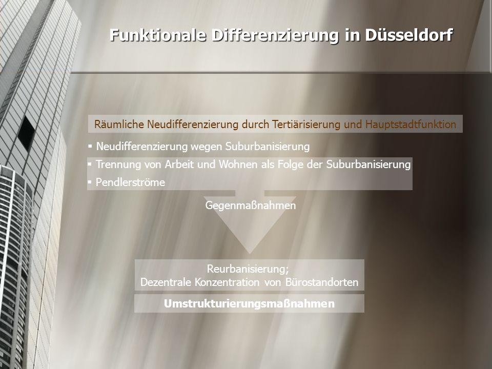 Funktionale Differenzierung in Düsseldorf  Pendlerströme  Neudifferenzierung wegen Suburbanisierung  Trennung von Arbeit und Wohnen als Folge der S