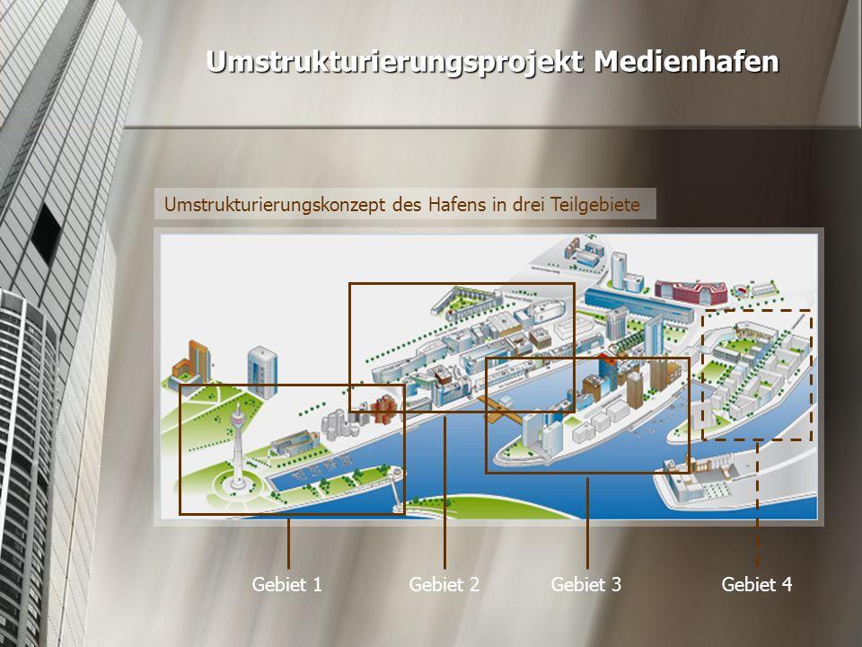 Umstrukturierungsprojekt Medienhafen Umstrukturierungskonzept des Hafens in drei Teilgebiete Gebiet 1Gebiet 2Gebiet 3Gebiet 4
