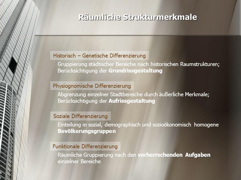 Historisch – Genetische Differenzierung in Düsseldorf Düsseldorf um 1800 Merkmale  Schachbrettartiges Straßennetz (1)  Stadtmauern (2)  Zitadelle als Regierungszentrum (4)  Rhein als westliche natürliche Grenze (3)      Bahnhofslage: Ausdehnung der Stadt bis zur Industrialisierung (5) 