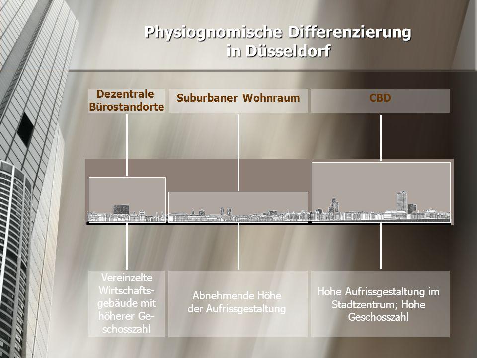 Physiognomische Differenzierung in Düsseldorf Suburbaner WohnraumCBD Dezentrale Bürostandorte Abnehmende Höhe der Aufrissgestaltung Hohe Aufrissgestal