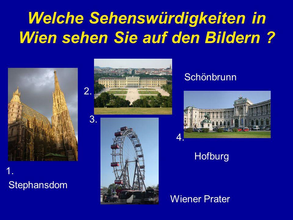 Welche Sehenswürdigkeiten in Wien sehen Sie auf den Bildern ? Schönbrunn 2. 3. 4. Hofburg 1. Stephansdom Wiener Prater