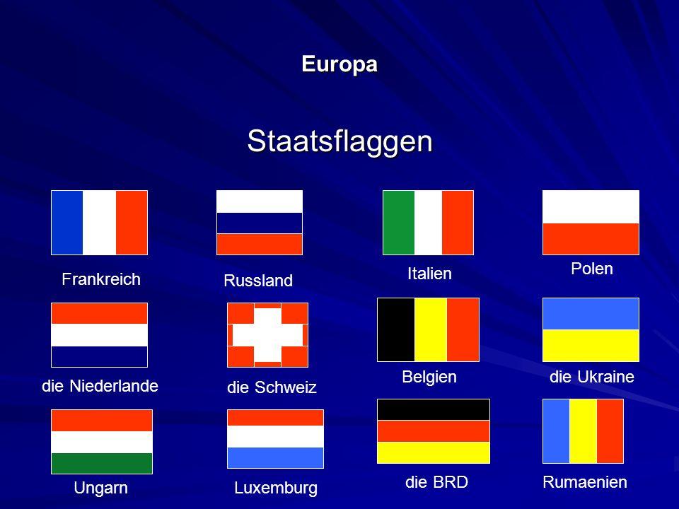 Europa Staatsflaggen Frankreich Italien Belgien die BRD Ungarn die Niederlande Russland die Schweiz Luxemburg Polen die Ukraine Rumaenien