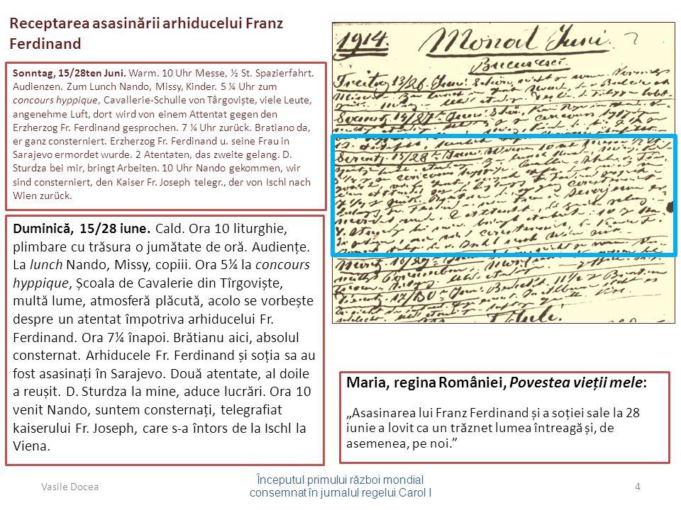 Receptarea asasin ă rii arhiducelui Franz Ferdinand Sonntag, 15/28ten Juni.