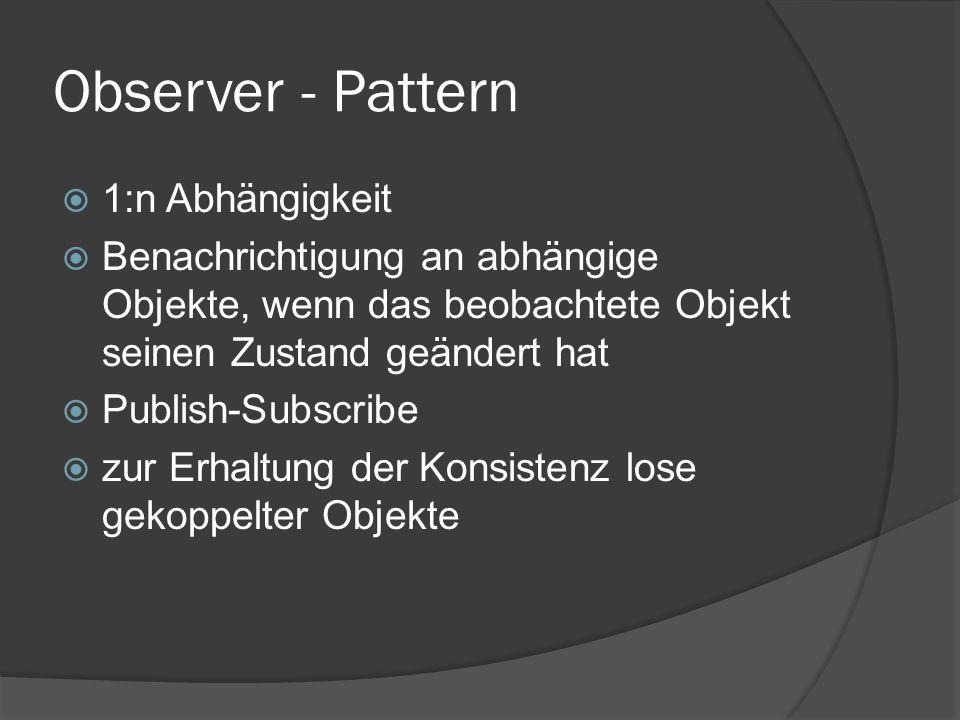 Observer - Pattern  1:n Abhängigkeit  Benachrichtigung an abhängige Objekte, wenn das beobachtete Objekt seinen Zustand geändert hat  Publish-Subscribe  zur Erhaltung der Konsistenz lose gekoppelter Objekte