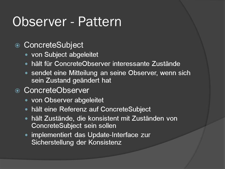 Observer - Pattern  ConcreteSubject von Subject abgeleitet hält für ConcreteObserver interessante Zustände sendet eine Mitteilung an seine Observer,