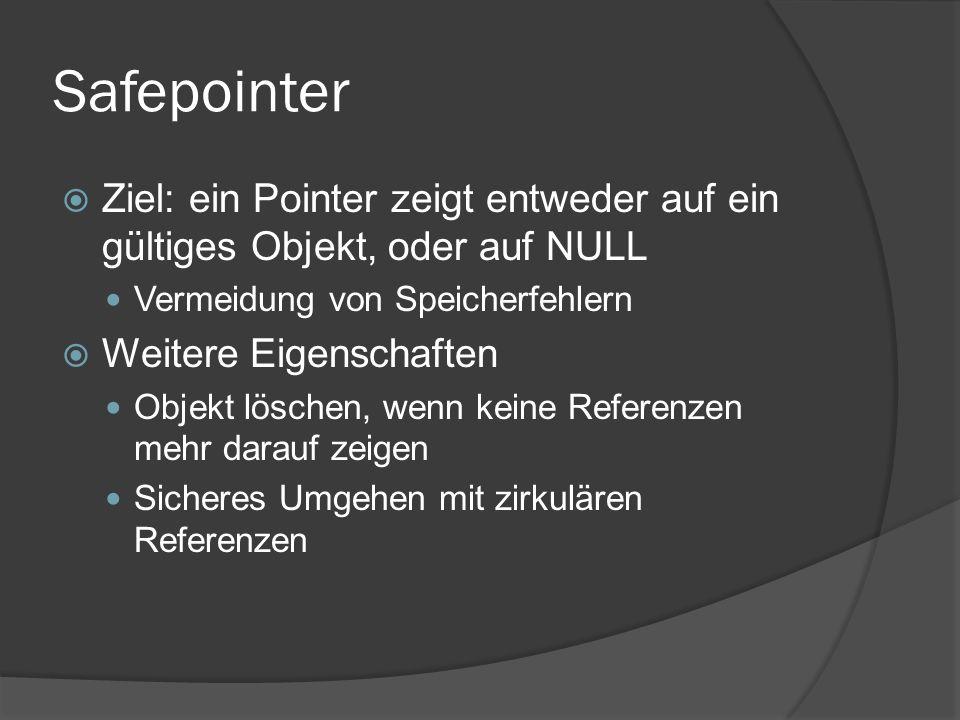 Safepointer  Ziel: ein Pointer zeigt entweder auf ein gültiges Objekt, oder auf NULL Vermeidung von Speicherfehlern  Weitere Eigenschaften Objekt löschen, wenn keine Referenzen mehr darauf zeigen Sicheres Umgehen mit zirkulären Referenzen