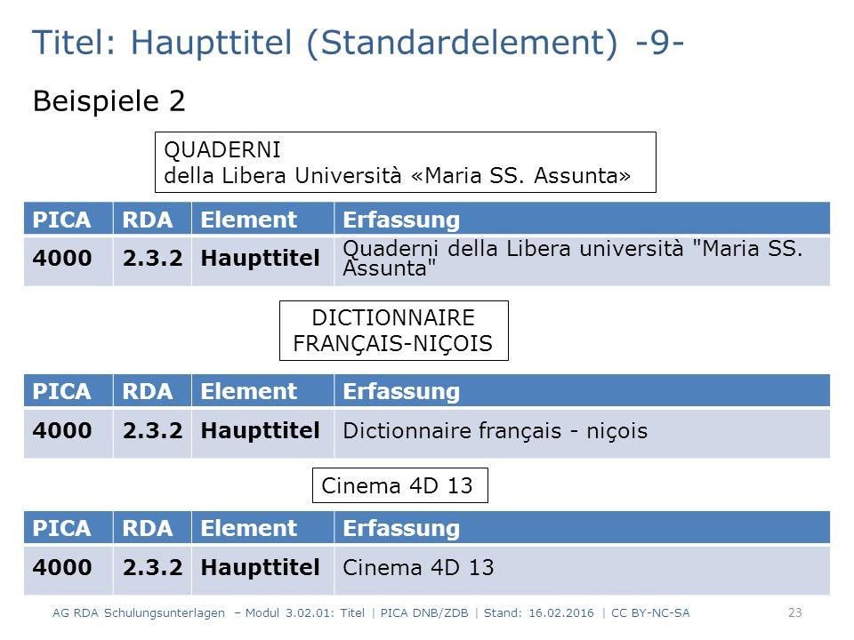Titel: Haupttitel (Standardelement) -9- Beispiele 2 QUADERNI della Libera Università «Maria SS. Assunta» PICARDAElementErfassung 40002.3.2Haupttitel Q