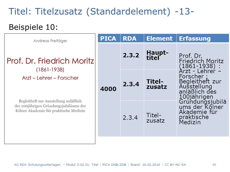 Titel: Titelzusatz (Standardelement) -13- Beispiele 10: PICARDAElementErfassung 4000 2.3.2 Haupt- titel Prof.