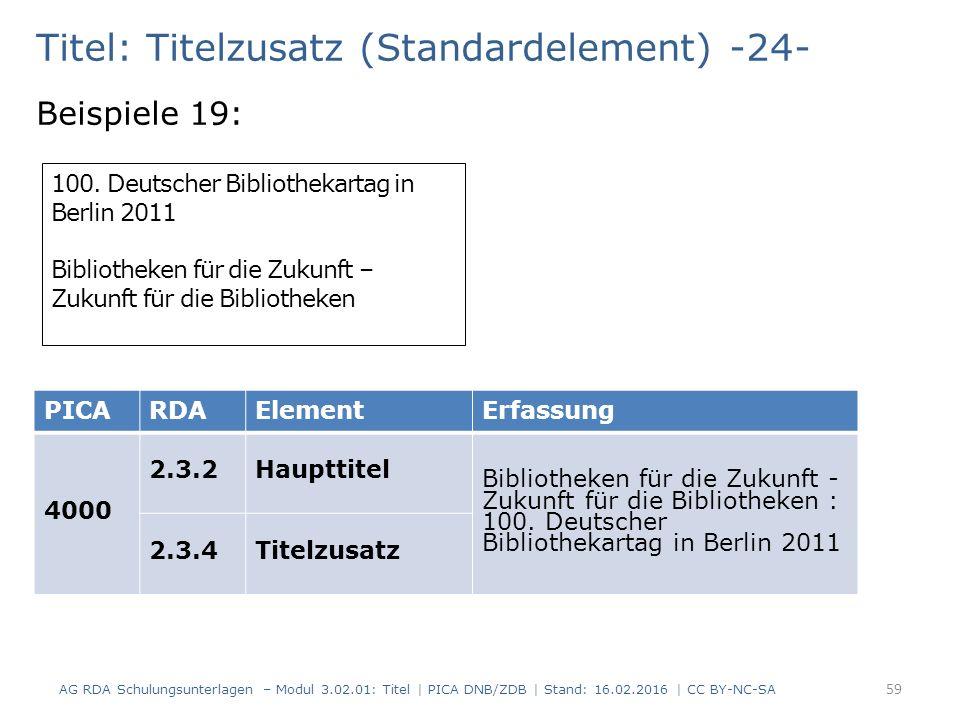 Titel: Titelzusatz (Standardelement) -24- Beispiele 19: 100.