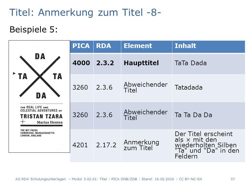 Titel: Anmerkung zum Titel -8- Beispiele 5: PICARDAElementInhalt 40002.3.2HaupttitelTaTa Dada 32602.3.6 Abweichender Titel Tatadada 32602.3.6 Abweichender Titel Ta Ta Da Da 42012.17.2 Anmerkung zum Titel Der Titel erscheint als × mit den wiederholten Silben Ta und Da in den Feldern AG RDA Schulungsunterlagen – Modul 3.02.01: Titel | PICA DNB/ZDB | Stand: 16.02.2016 | CC BY-NC-SA 89