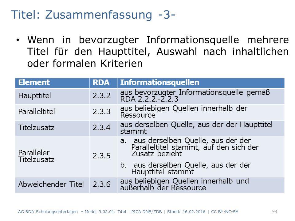 Titel: Zusammenfassung -3- Wenn in bevorzugter Informationsquelle mehrere Titel für den Haupttitel, Auswahl nach inhaltlichen oder formalen Kriterien ElementRDAInformationsquellen Haupttitel2.3.2 aus bevorzugter Informationsquelle gemäß RDA 2.2.2.-2.2.3 Paralleltitel2.3.3 aus beliebigen Quellen innerhalb der Ressource Titelzusatz2.3.4 aus derselben Quelle, aus der der Haupttitel stammt Paralleler Titelzusatz 2.3.5 a.