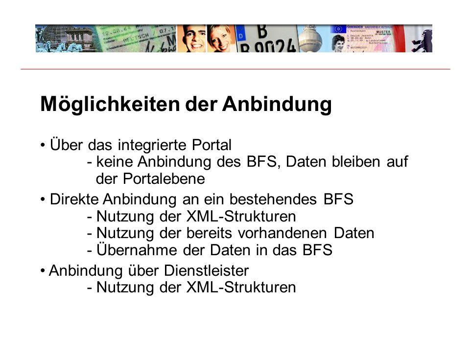 Möglichkeiten der Anbindung Über das integrierte Portal - keine Anbindung des BFS, Daten bleiben auf der Portalebene Direkte Anbindung an ein bestehendes BFS - Nutzung der XML-Strukturen - Nutzung der bereits vorhandenen Daten - Übernahme der Daten in das BFS Anbindung über Dienstleister - Nutzung der XML-Strukturen