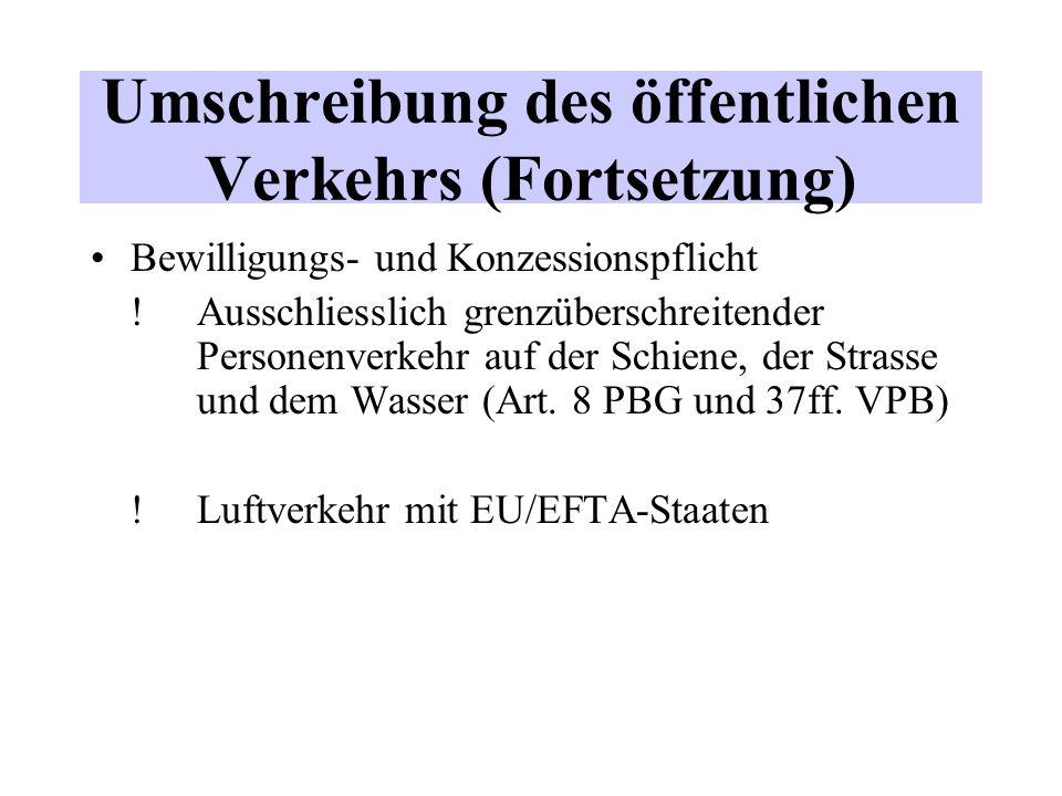 Umschreibung des öffentlichen Verkehrs (Fortsetzung) Bewilligungs- und Konzessionspflicht .