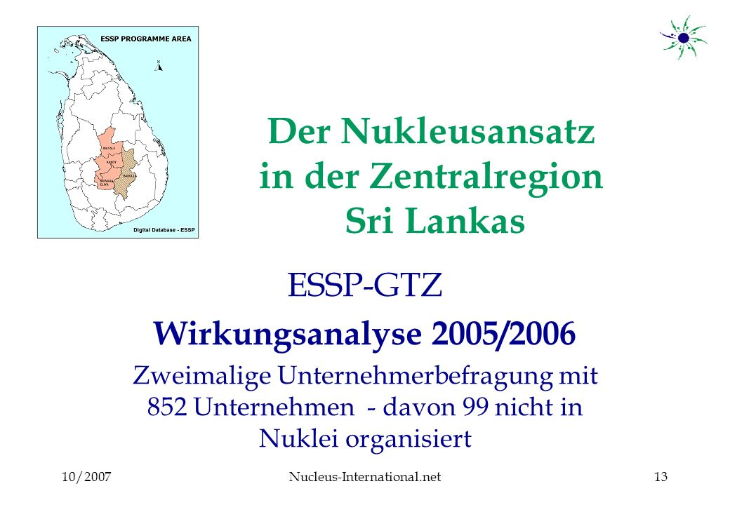 10/2007Nucleus-International.net13 Der Nukleusansatz in der Zentralregion Sri Lankas ESSP-GTZ Wirkungsanalyse 2005/2006 Zweimalige Unternehmerbefragung mit 852 Unternehmen - davon 99 nicht in Nuklei organisiert
