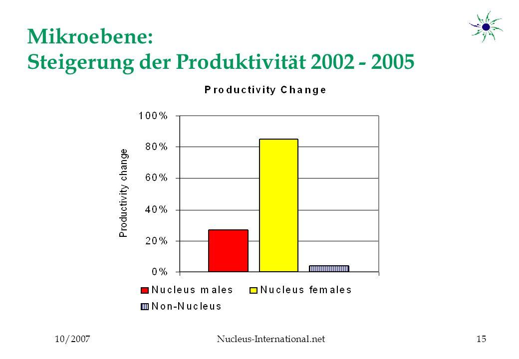 10/2007Nucleus-International.net15 Mikroebene: Steigerung der Produktivität 2002 - 2005