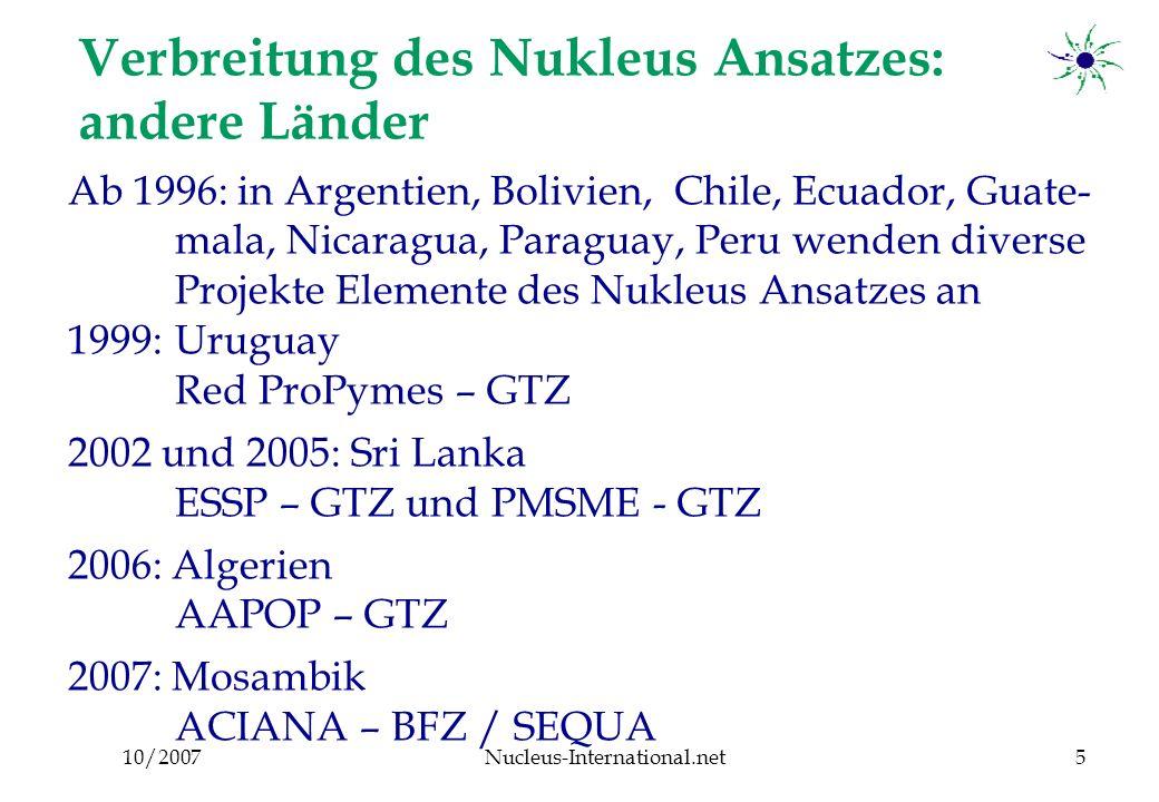 10/2007Nucleus-International.net6 Definition eines Nukleus Gruppe von Unternehmern der gleichen Branche moderiert von einem festangestellten Betriebsberater innerhalb einer Kammer/ eines Verband KMU Betriebsberater