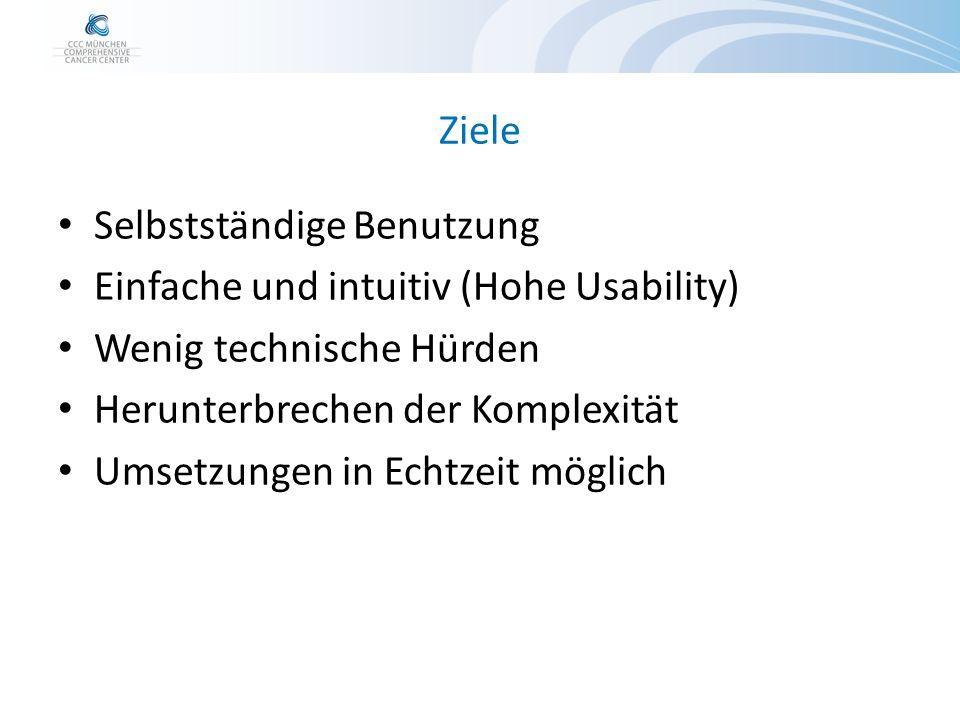 Ziele Selbstständige Benutzung Einfache und intuitiv (Hohe Usability) Wenig technische Hürden Herunterbrechen der Komplexität Umsetzungen in Echtzeit