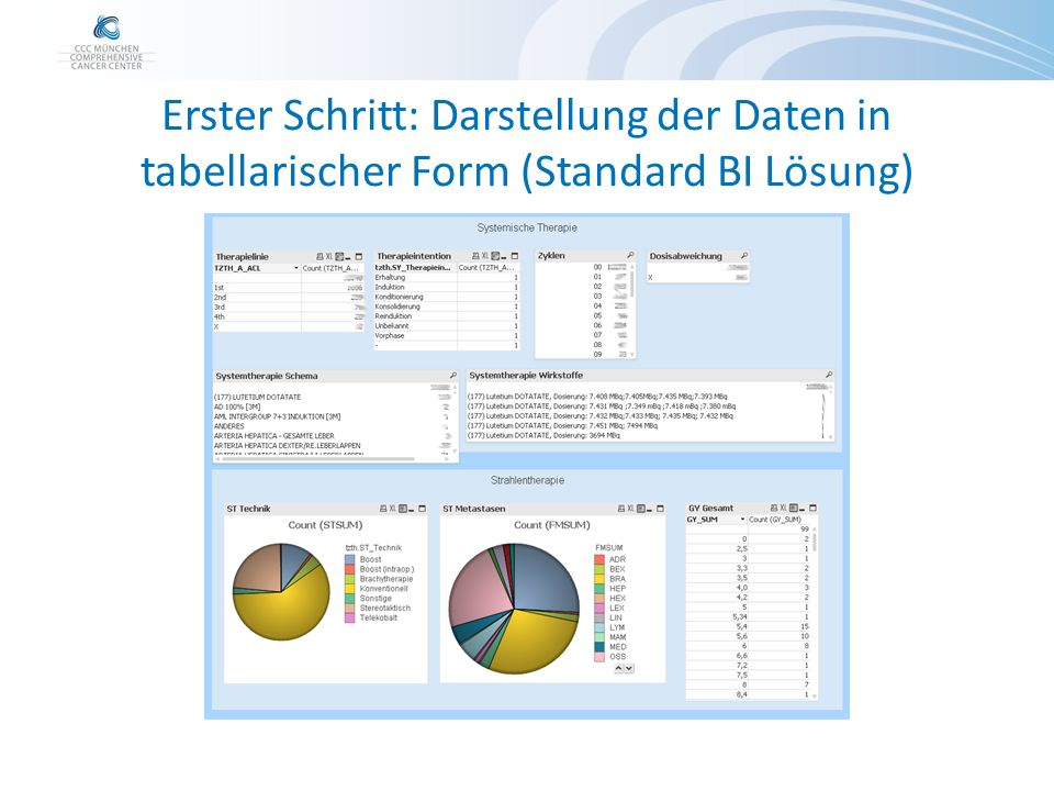 Erster Schritt: Darstellung der Daten in tabellarischer Form (Standard BI Lösung)