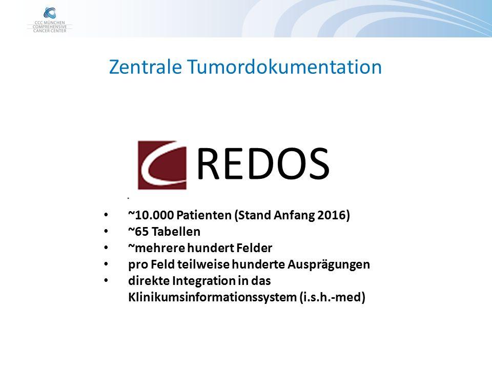 Zentrale Tumordokumentation REDOS ~10.000 Patienten (Stand Anfang 2016) ~65 Tabellen ~mehrere hundert Felder pro Feld teilweise hunderte Ausprägungen