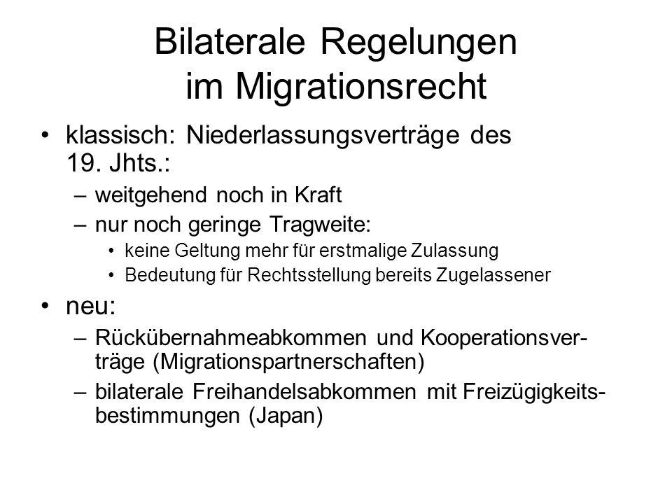 Multilaterale Ordnungen mit migrationsrechtlichem Gehalt universelle oder regionale Menschenrechts- vereinbarungen: –EMRK –UNO-Pakt II –Flüchtlingskonvention –Staatenlose –Rassendiskriminierungsabkommen –Übereinkommen gegen die Diskriminierung der Frau –Kinderrechtekonvention –Wanderarbeiterabkommen