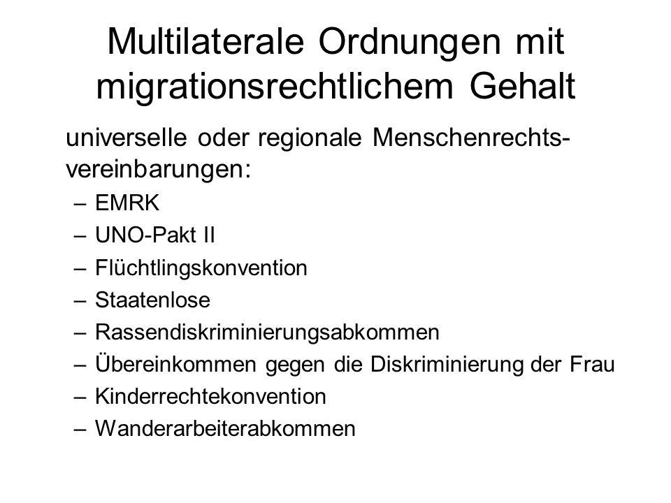Multilaterale Ordnungen mit migrationsrechtlichem Gehalt universelle Wirtschaftsverträge und regionale Freizügigkeitsabkommen: –Prinzip: Freizügigkeit auf Gegenseitigkeit (Reziprozität) –wesentliche Anwendungsbeispiele: GATT/WTO bzw.