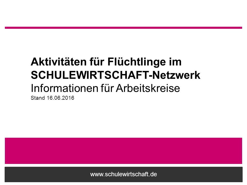 www.schulewirtschaft.de Aktivitäten für Flüchtlinge im SCHULEWIRTSCHAFT-Netzwerk Informationen für Arbeitskreise Stand 16.06.2016