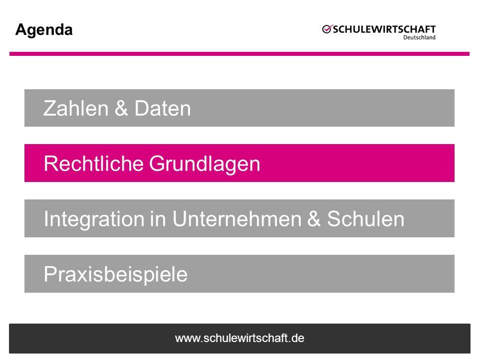 www.schulewirtschaft.de Agenda Zahlen & Daten Rechtliche Grundlagen Integration in Unternehmen & Schulen Praxisbeispiele