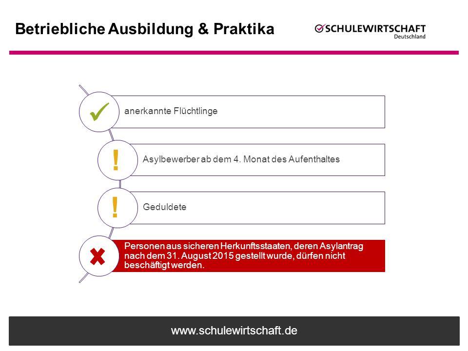 www.schulewirtschaft.de Betriebliche Ausbildung & Praktika anerkannte Flüchtlinge Asylbewerber ab dem 4. Monat des Aufenthaltes Geduldete Personen aus
