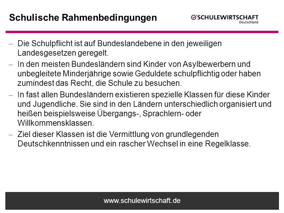 www.schulewirtschaft.de Schulische Rahmenbedingungen  Die Schulpflicht ist auf Bundeslandebene in den jeweiligen Landesgesetzen geregelt.  In den me