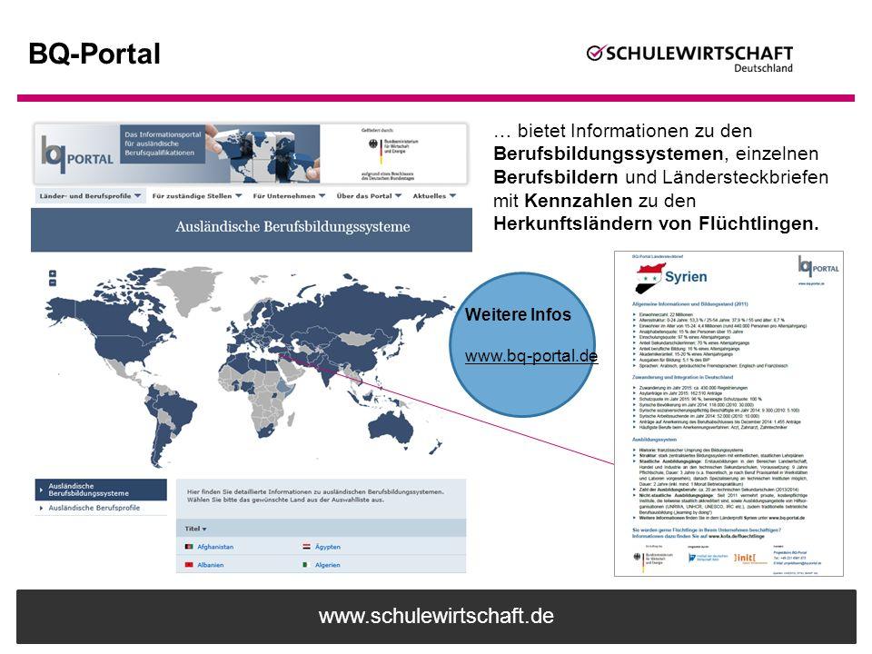 www.schulewirtschaft.de BQ-Portal … bietet Informationen zu den Berufsbildungssystemen, einzelnen Berufsbildern und Ländersteckbriefen mit Kennzahlen