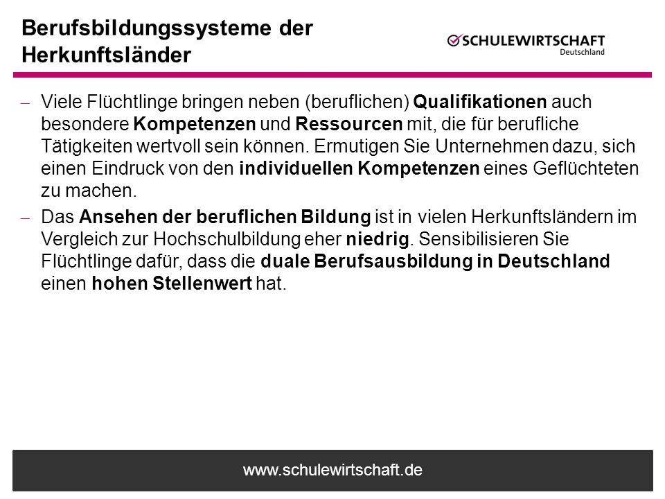 www.schulewirtschaft.de Berufsbildungssysteme der Herkunftsländer  Viele Flüchtlinge bringen neben (beruflichen) Qualifikationen auch besondere Kompe