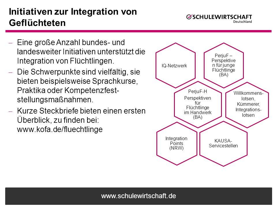 www.schulewirtschaft.de Initiativen zur Integration von Geflüchteten  Eine große Anzahl bundes- und landesweiter Initiativen unterstützt die Integrat