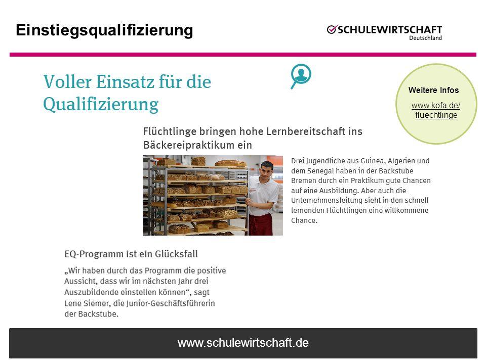www.schulewirtschaft.de Einstiegsqualifizierung Weitere Infos www.kofa.de/ fluechtlinge