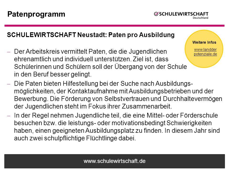 www.schulewirtschaft.de Patenprogramm SCHULEWIRTSCHAFT Neustadt: Paten pro Ausbildung  Der Arbeitskreis vermittelt Paten, die die Jugendlichen ehrena