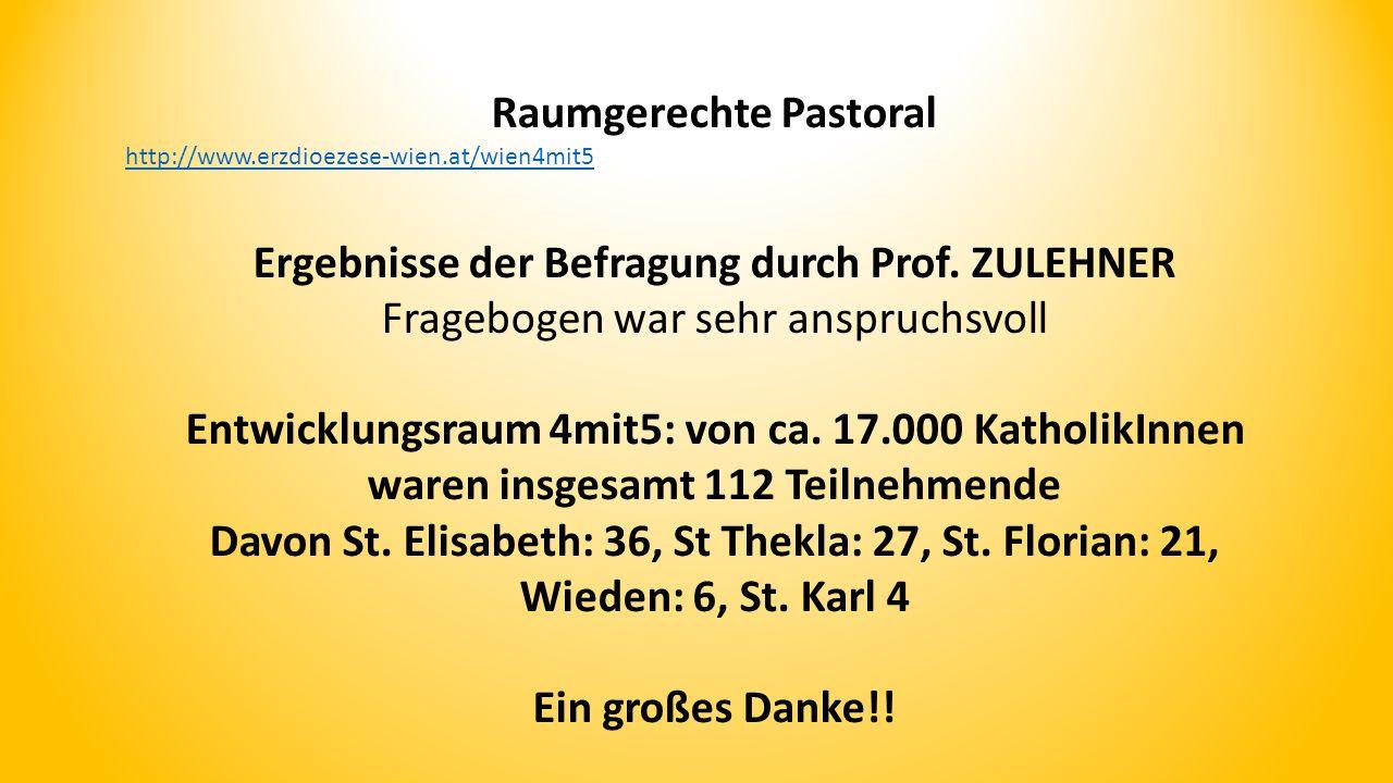 Raumgerechte Pastoral http://www.erzdioezese-wien.at/wien4mit5 Ergebnisse der Befragung durch Prof.