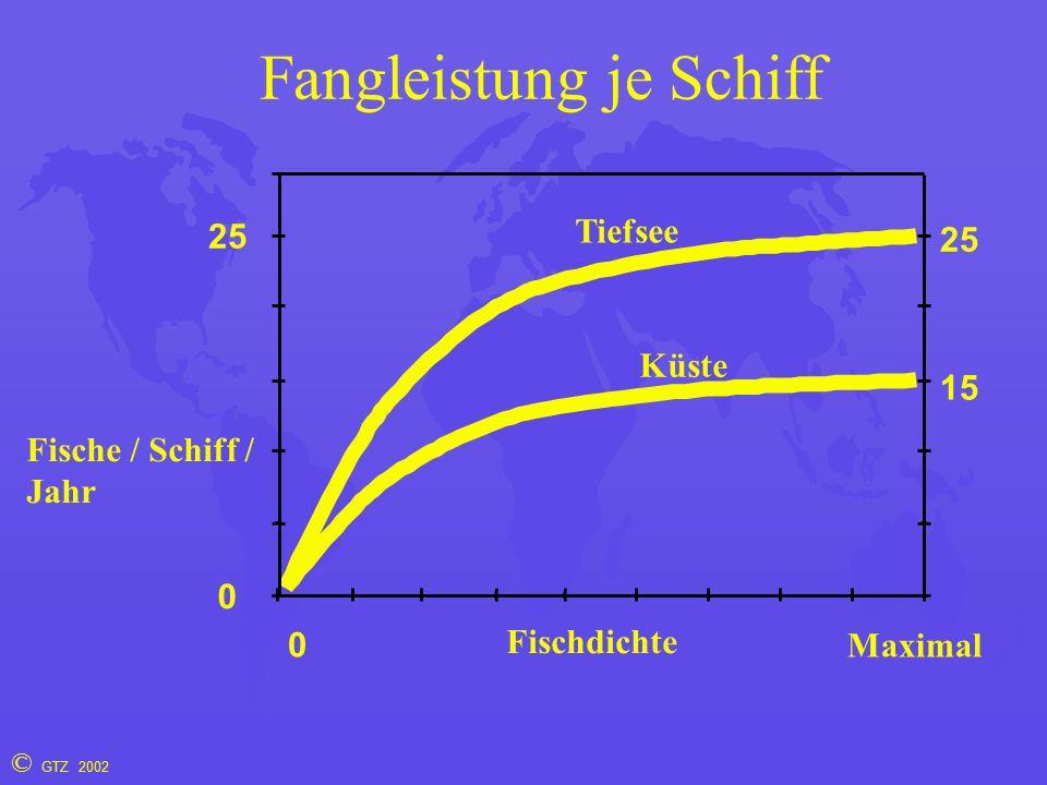 © GTZ 2002 Fangleistung je Schiff Fischdichte 0 0 Maximal Fische / Schiff / Jahr 15 25 Küste Tiefsee 25