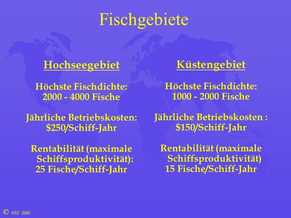 © GTZ 2002 Fischgebiete Hochseegebiet Höchste Fischdichte: 2000 - 4000 Fische Jährliche Betriebskosten: $250/Schiff-Jahr Rentabilität (maximale Schiffsproduktivität): 25 Fische/Schiff-Jahr Küstengebiet Höchste Fischdichte: 1000 - 2000 Fische Jährliche Betriebskosten : $150/Schiff-Jahr Rentabilität (maximale Schiffsproduktivität) 15 Fische/Schiff-Jahr