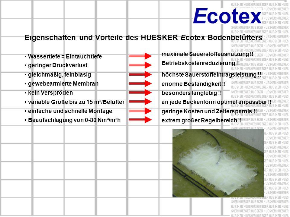 Eigenschaften und Vorteile des HUESKER Ecotex Bodenbelüfters Wassertiefe = Eintauchtiefe maximale Sauerstoffausnutzung !! geringer Druckverlust Betrie