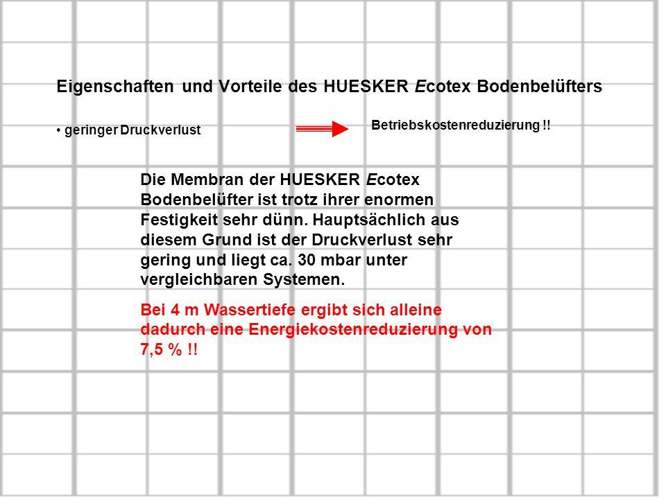 Eigenschaften und Vorteile des HUESKER Ecotex Bodenbelüfters geringer Druckverlust Betriebskostenreduzierung !! Die Membran der HUESKER Ecotex Bodenbe