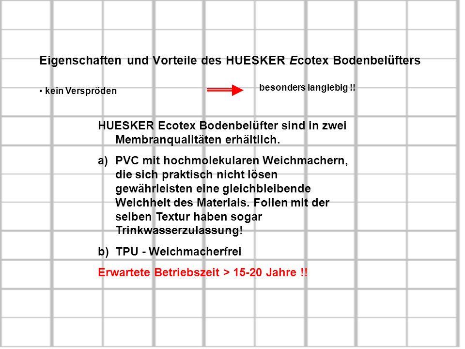 Eigenschaften und Vorteile des HUESKER Ecotex Bodenbelüfters kein Verspröden besonders langlebig !! HUESKER Ecotex Bodenbelüfter sind in zwei Membranq
